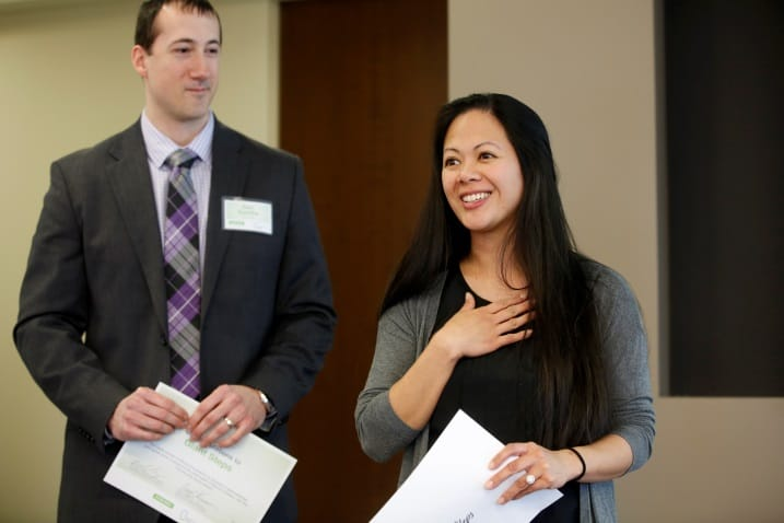 Pictured left: Dan Dahlke and Joy Cooper, of Giant Steps, speak about Giant Steps at the grants reception luncheon at the Delta Dental of Illinois Foundation headquarters in January 2015. Photo courtesy of Mike Tercha Photography.