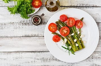 Asparagus with Goat Cheese and Cherry Tomatoes
