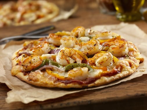 Grilled Shrimp & Roasted Pepper Pizza